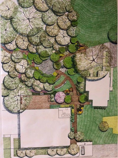 Illustration of Meditation and Memorial Garden